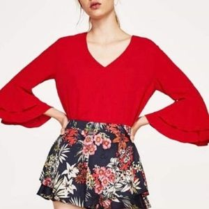 Red V-Neck Flare Bell Sleeved Top